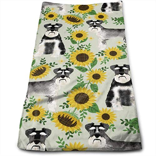 Schnauzer Dog and Sunflower Summer - Neutral Hand Towels Dishcloth Floral Linen Hand Towels Super Soft Extra Absorbent for Bath,Spa and Gym 12