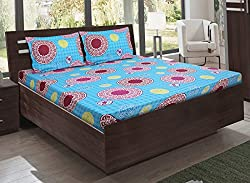 Bombay Dyeing double bedsheet with 2 pillow covers-Foliage-Blue
