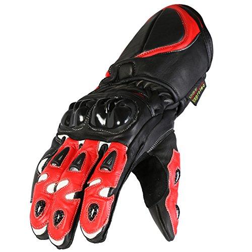 Texpeed - Gants de moto en cuir - homme - 4 articulations renforcées - rouge/noir
