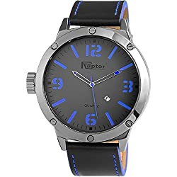 Raptor Analog Herrenuhr, Leder, Ø 52 mm, Anthrazit Schwarz - 297971200044