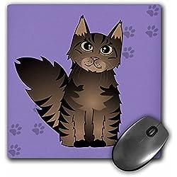 3drose LLC 20,3x 20,3x 0,6cm Mouse Pad, Cute Maine Coon Dessin animé de chat, Marron tigré, Violet avec patte de chien (MP 35507_ 1)