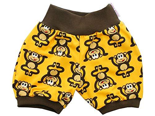 Kleine Könige Kurze Pumphose Baby Jungen Shorts · Modell Äffchen gelb braun · Ökotex 100 Zertifiziert · Größe 98/104 -