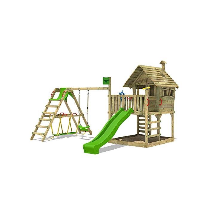 FATMOOSE Kletterturm WackyWorld Mega XXL Spielturm Spielhaus mit Holzdach, Schaukel, Rutsche, Surfanbau, Kletterleiter und integriertem XXL Sandkasten 1