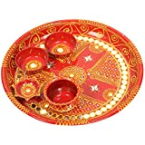 BAISA - Rajasthani Traditional Metal Hand Painted With Mirror Work Pooja Aarti Thali For Home & Temple (12 Inch)