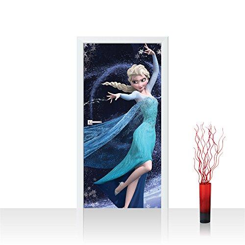 Türtapete selbstklebend 91x211 cm PREMIUM PLUS Tür Fototapete Türposter Türpanel Foto Tapete Bild - DISNEY Frozen Elsa Kindertapete Cartoon Prinzessin Schneeflocke - no. 780