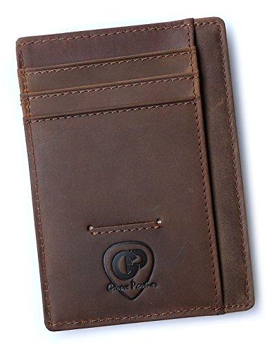 GroovePartner Herren Kreditkartenetui aus Leder mit RFID und NFC Schutz sowie 7 Kartenschlitzen 1 Münzfach und 1 Scheinfach inklusive 5 Gitarren Plektren Braun