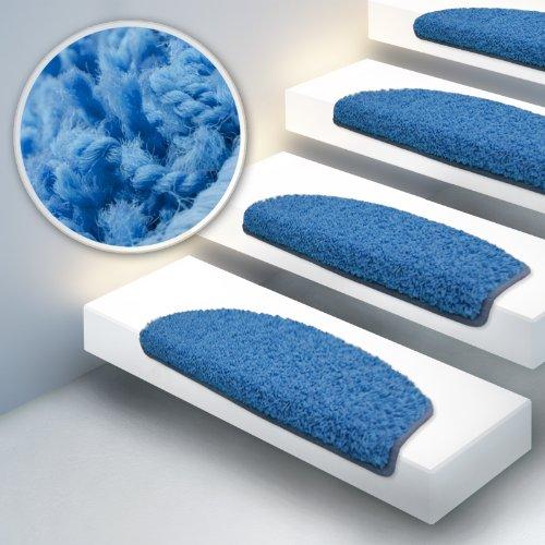 Shaggy Stufenmatten Premium S Line | 15 Stück Set | Hellblau