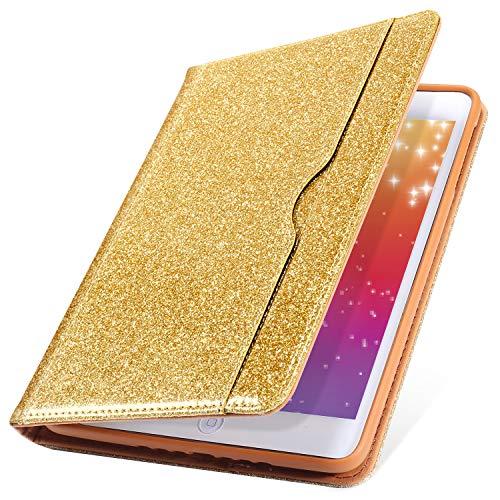 Preisvergleich Produktbild MoreChioce iPad Pro 10.5 Hülle,iPad Pro 10.5 Hülle Case,iPad Pro 10.5 Schutzhülle, Gold Bling Glitzer Sparkle Leder Tablet Cover Stand Brieftasche mit Auto Sleep/Wake Funktion für iPad Pro 10.5