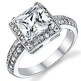 Damen Sterling Silber 925 Verlobungsring, Ehering Mit 2 Karat Prinzessin Schnitt Zirkonia Bequemlichkeit Passen,Größe 57