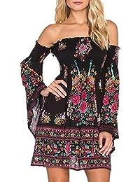 5bc372b408434 Mujer Vestido Verano Playa Trompeta De Manga Larga Cuello Lindo Chic Barco Elegante  Moda Vintage Hippie