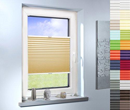SUNWORLD Plissee nach Maß, hochqualitative Wertarbeit, für Fenster und Türen, alle Größen, Maßanfertigung, Jalousie, Faltrollo, (Farbe: Light Beige, Höhe: 181-190cm, Breite: 71-80cm)