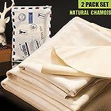 Coche Paño De Fibra Natural. Gamuza de limpieza, Riverlake auténtica piel de ciervo Auto coche lavado secado toalla, super absorbente, 3tamaños disponibles. L/M/S (L-Size 2unidades)...