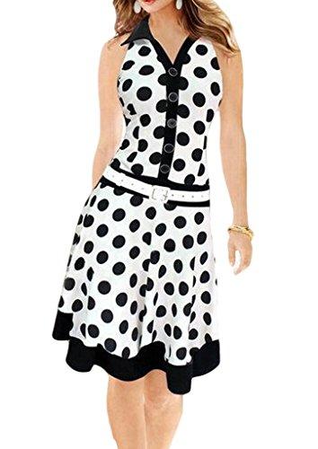 Smile YKK Robe Eté Femme Soie Imité Sans Manche Robes à Pois Col Chemise Casual Soirée Vintage Blanc
