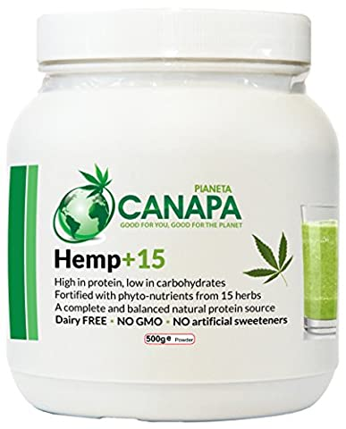 Hemp+15 Protein Powder&15 Herbs - Complete Veg Protein (42.8%), Low Sugar, 500g - NO GMO, Artificial Sweeteners, Preservatives, Pesticides - More Energy, Stamina, Muscle Recovery & Growth For Vegetarians, Gym Goers, Athletes, Bodybuilders, Sport & Fitness, Kids, Elderly, Slimmers, Dieters, Raw Food Eaters, Dairy/Gluten/Soya Intolarance - No Bad Aftertaste, Bloating, Easily Digestible, Filling, Helps Digestion, Regularity - Stabilizes blood sugar - FREE hemp recipe book (Natural) - Dente Canapa