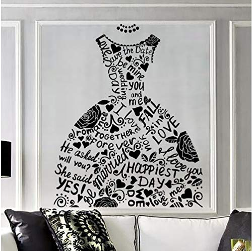 Zlxzlx Mode Wandaufkleber Hochzeitskleid Braut Shop Wandtattoo Ehe Stil Wand Kunst Wand Fenster...