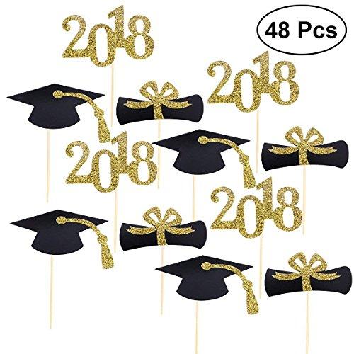 Naisidier Graduation Cake Topper Kuchen Deko mit Zahnstocher,16 * 2018 Cake Topper 16*Doktorhut Kuchen Topper 16*DIPLOM,für Graduation Abschlussfeier Party Cake Topper, 48 Stück (Geschenke Diy College Graduierung)