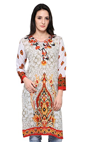 Eternal Women's Off White Printed Crepe Knee-Length Kurti With Pocket( TSFPS001-WHITE_XL, Off White, X_Large)  available at amazon for Rs.279