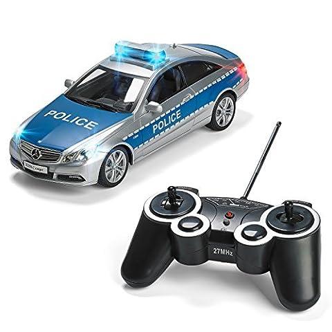 Prextex R/C Polizeiwagen mit Lichtern und realistischer Polizeisirene Fernsteuerungs Polizei Auto Spielzeug für