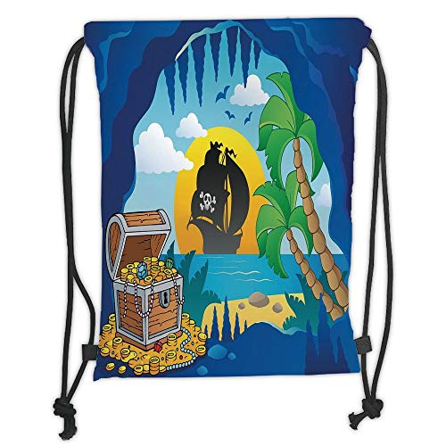 ck Backpacks Bags,Pirate,Fantasy Seashore with Cave Entrance Chest Full of Gold Ship on Sea Setting Sun Print,Multicolor Soft Satin,5 Liter Capacity,Adjustable String Closu ()