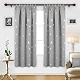 Deconovo Super Soft Thermal Insulated Pencil Pleat Star Printed Blackout Curtains for Bedroom with Two Matching Tie Backs 46 x 72 Inch Light Grey 2 Panels