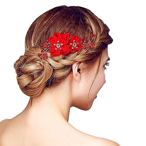 Contever® Tulle Perlage Simulations Pearls Nuptiale Side Peigne Barrette Headpiece Cheveux Accessoires pour Mariée Prom Party - Rouge