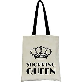 891f992394c4f PREMYO Einkaufstasche Lange Henkel Baumwolltasche Natur Jutebeutel Bedruckt  mit Spruch Motiv Shopping Queen Stofftasche Trage-