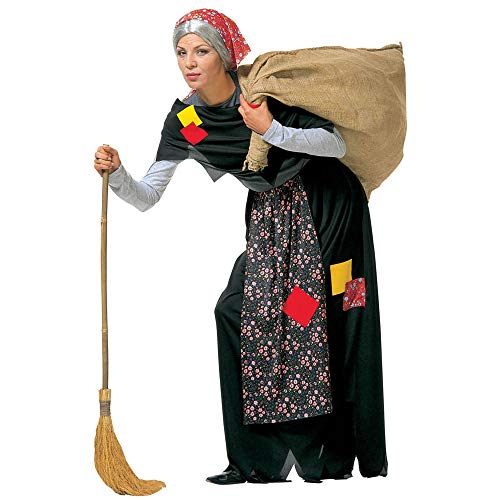 WIDMANN-Old Witch Befana Gonna Con Grembiule Scialle Foulard Costumi Completo Adulto Party 802 Donna, Multicolore, (S), 8003558350414