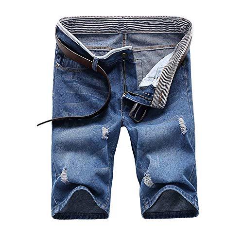 en Cowboy Shorts Kurze Hosen Heißer 2019 Sommer Neue Casual Solide Dünne Baumwolle Shorts Männer Jeans Blau Shorts Mode Männlichen größe(Kein Gürtel) x1 ()