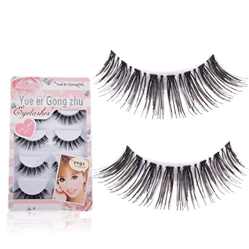 Ouneed® Faux cils/5 Pair / Lot Criss Cross Faux Cils Cils cils HOT Volumineux (noir_1)