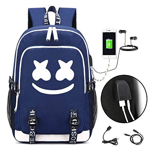 Hzl marshmello DJ Laptop Rucksack mit USB Ladeanschluss, Unisex Business Reise Schule Notebook Rucksack für Herren Damen,Blue