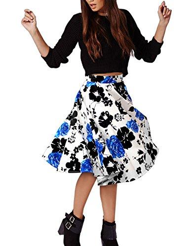 VKStar® A-Linie Vintage 1950s Sommer Damen Kurz Blumen Stoffdruck Kleid Audrey Hepburn Style Rockabilly Swing Abendkleid Cocktail Partykleid Blau
