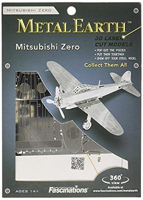 Fascinations Metal Earth MMS028 - 502499, Mitsubishi Zero, Konstruktionsspielzeug, 1 Metallplatine, ab 14 Jahren von Metal Earth