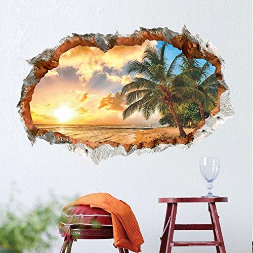 Sonnenuntergang Wandtattoo Wandsticker Kinderzimmer Ausblick Palme Meer 3D(93)