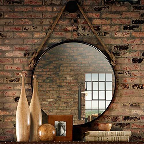 Espejo Colgante de Pared Vintage con conexión de Hierro Redondo de Metal Enmarcado para Sala de Afeitar...