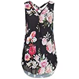 JUTOO Women Loose Flowers Chiffon Sleeveless Tank V-Neck Zipper Hem Scoop Tshirts Tops(K-Schwarz, EU:42/CN:L)