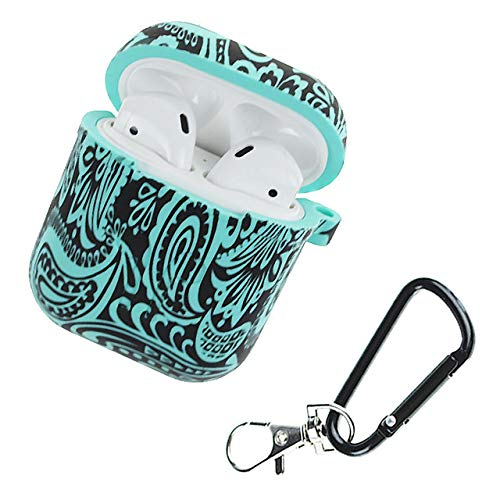 Price comparison product image RONSHIN Camouflage Silicone Shockproof Protector Cover Case Carabiner for Airpods Case i10 i12 TWS Bluetooth Luminous Protector Water duck black whirlwind