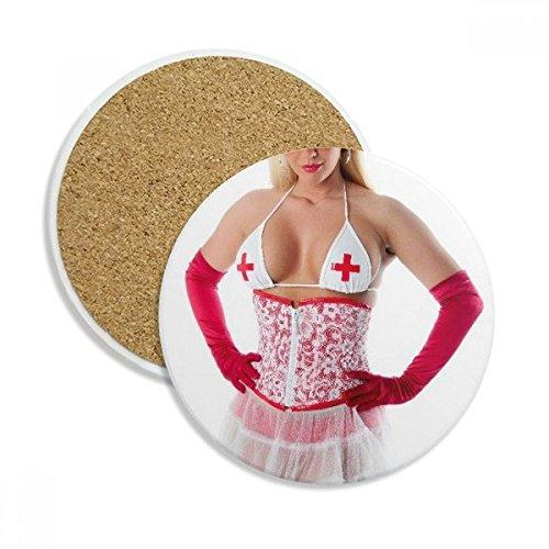DIYthinker Boobs Kleid Uniform Krankenschwester Sexy Girl Stein Getränk Keramik-Untersetzer für Becher-Schalen-Geschenk 2pcs -