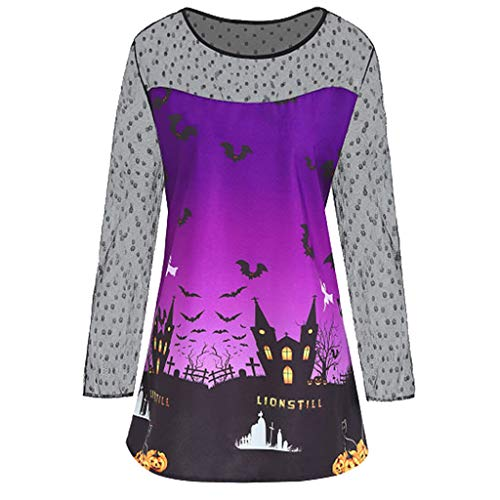 kolila Halloween Tops Sale Damen Lace Stitching O Neck Lässige Langarmshirts Oberteile Halloween Party Print Bluse Shirt Tunika Übergröße (Disney 2019 Shirts Halloween)