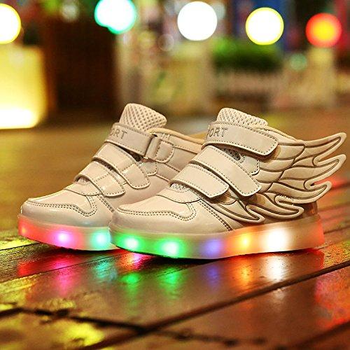 COOLER®Baskets Lumineuses Chaussures de Sport Clignotantes avec 7 Couleurs LED Colorés Style d'ailes d'ange pour Fille Garçon blanc