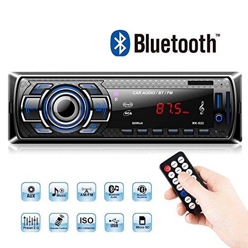 bedee Autoradio Bluetooth, Radio de Voiture Audio Récepteur/Lecteur MP3 / Radio FM, Mains Libres avec Télécommande, Haut-Parleur USB/SD / AUX et Microphone Intégré
