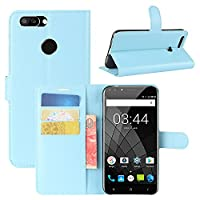 Oukitel U22 Case, HualuBro [All Around Protection] Premium PU Leather Wallet Flip Phone Protective Case Cover with Card Slots for Oukitel U22 Smartphone (Blue)