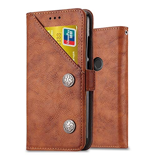 Ferlinso Case for Xiaomi Mi A2, Retro Leather Wallet Case with Multifunction ID Credit Card Slot Holder Flip Cover Stand Magnetic Closure Case for Xiaomi Mi A2 (Retro Brown)