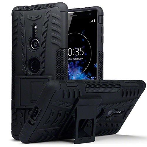 TERRAPIN, Kompatibel mit Sony Xperia XZ2 Hülle, TPU + PC Schutzhülle mit Standfunktion Tasche - Schwarz EINWEG