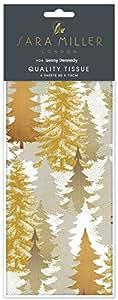 Sara Miller oro alberi di Natale tessuto carta regalo con motivo stampato 4fogli 50x 70cm