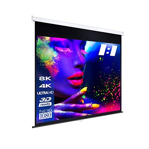 "ESMART Professional MIROLO Rollo-Leinwand [Größenauswahl] 213 x 213 cm (120"") 1:1 | Vollmaskierung | Heimkino Beamer Projektionsleinwand Rollo Leinwand LCD LED"