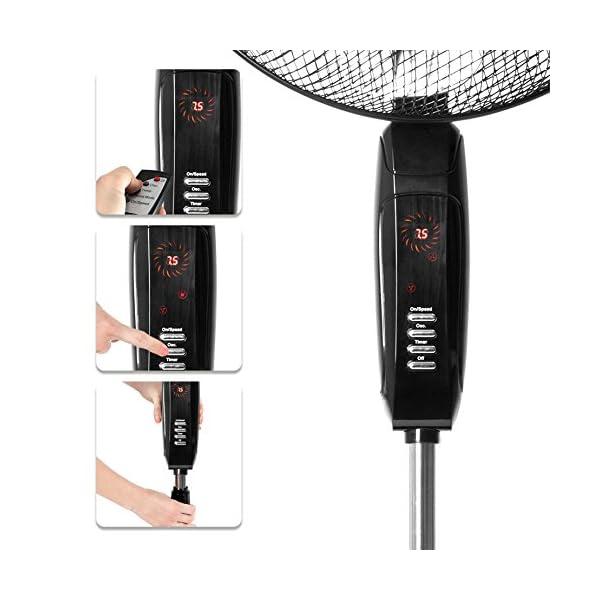 Duronic FN45 Ventilador de Pedestal 60W oscilante 360/º con 3 velocidades Diferentes y Altura Ajustable 120-140cm Ventilador de pie con Cabezal inclinable y Temporizador