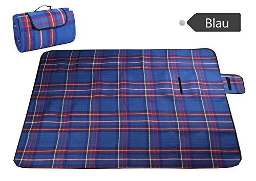 icase4u® BBQ Picknickbedarf Extra Groß Wasserdicht Picknickdecken Camping blanket Matte Teppich Reise Outdoor Strand Camping Decke 130x 170cm (Blau)