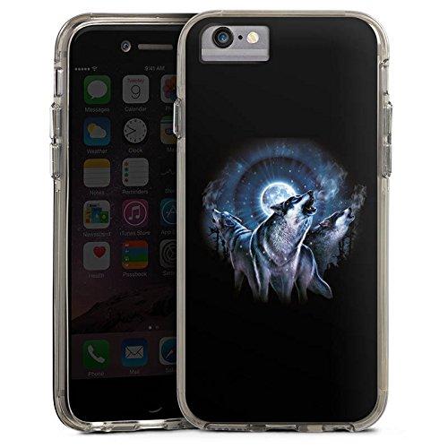 Apple iPhone 6 Bumper Hülle Bumper Case Glitzer Hülle Nacht Mond Moon Bumper Case transparent grau