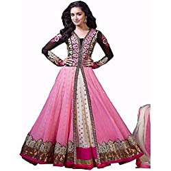 Varona Creation Women's Special Pink Special Floor Length Anarkali Suit (VC0001 Color: Pink Free Size)