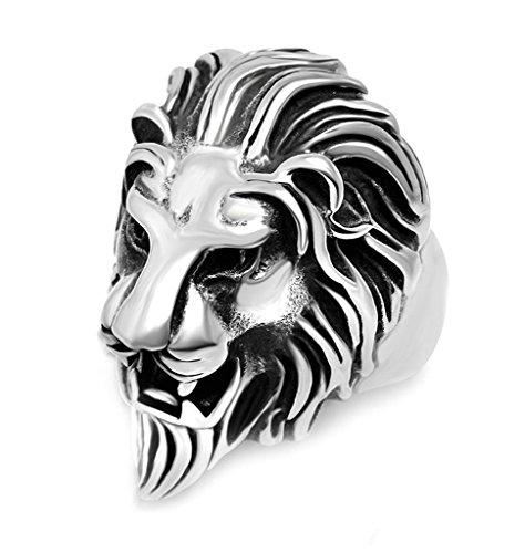 Anyeda Herren Ring Edelstahl Löwenkopf-Ring Schwarzes Silber Bandring Vintage Ringgröße 60 (19.1)
